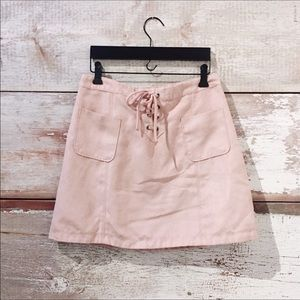 Hollister // pink lace-up skirt